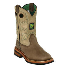 John Deere Youth Boys Tan Sanded Leather Square Toe Pull-On Cowboy Boots
