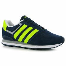 Adidas 10k Trainers Mens Navy/Yellow Casual Sneakers Shoes Footwear