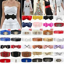 Womens Ladies Buckle Bow /Wide/Thin Stretch Elastic Corset Waist Belt Waistband