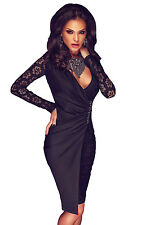 New Sexy Womens Black Lace Long Sleeve Asymmetric Splice Party Midi Dress S M L