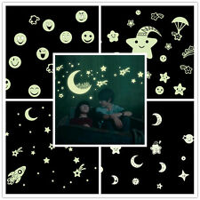 5 Styles Moon Stars Emoji Glow In The Dark Luminous Home Decor PVC Wall Sticker