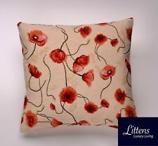 NATURAL RED POPPIES 18x18in WOVEN TAPESTRY CUSHION COVER - UK MADE (45x45cm)