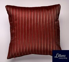 RED WINE PIN STRIPES 18x18in CHENILLE CUSHION COVER - UK MADE (45x45cm)