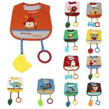 Animal Cotton Toddler Infant Baby Bibs Saliva Pinafore Aprons with Teethers