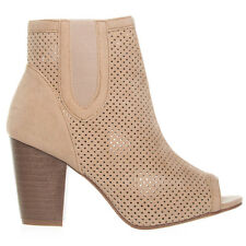 Women's Beige Perforated Stacked Heel Bootie Yoki Juniper-59