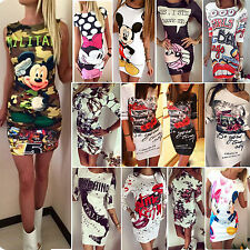 Sexy Womens Floral Printed Evening Party Slim Bodycon Short Mini Dress Clubwear