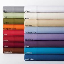 UK Single 1000 TC Egyptian Cotton Solid Bedding Collection Select Item/Color
