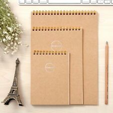 A6/A5 Spiral Coil Upturned Kraft Cover Notebook Diary Journal Note Pad Memo #AU