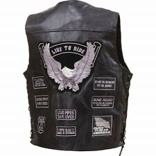 Mens Black Buffalo Leather Motorcycle VEST 14 Grey Patches US Flag Eagle Biker