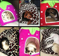 Soft Strawberry Pet Igloo Dog Cat Bed House Kennel Doggy Puppy Cushion Pad S-2XL