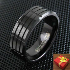 Black Tungsten Wedding Band Ring Multi-Grooved Size 7-15 (Half Sizes Avail.)