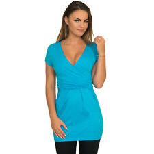 Sexy V Neck Tunic Top Shirt Mini Dress Trendy Great for Maternity Size S - 3XL