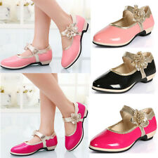 2016 Kids Girls Low Heel Floral Leather Dance Ballroom Mary Jane Shoes