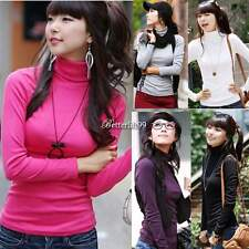 New Women Turtleneck Pullovers Long-sleeve Basic Bottoming Tee Shirt Tops BF9