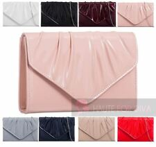 NEW LADIES PATENT LEATHER SILVER CHAIN PLEATED ENVELOPE BRIDAL PROM CLUTCH BAG