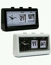 New Black Or White Retro Alarm Clock With Flip Calendar Date & Day