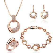 New 18K Gold Plated Women Crystal Necklace Ring Earrings Bracelet Jewelry Set