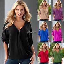 New Loose Women Casual Short Sleeve Sexy Shirt Tops Blouse Ladies Tee Top BF9