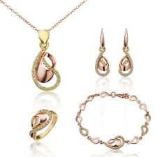 Elegant Womens 18K Gold Filled Heart Necklace Earrings Ring Bracelet Jewelry Set