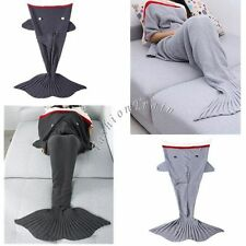 Shark Soft Mermaid Tail Handmade Crocheted Knitted Wool Sleeping Bag Rug Blanket