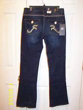 "NWT misses ""Rock & Republic"" Kasandra Blue Gold boot cut jeans - ret. $98"