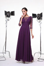 Long Mother of Bride Dresses Modest Plus Size Chiffon Formal Evening Gown