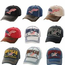 Cap American USA Flag Stars Stripes Eagle Red White Blue Vintage Embroidered New