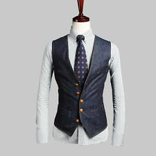 British Mens Boys Korean Denim Slim Fit Waistcoat Blazer Dress Jean Vests M-2XL
