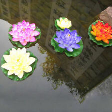 Artificial Fake Lotus Water lily Floating Flower Garden Pool Pond Plant Ornament