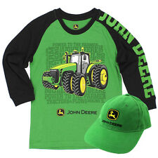 John Deere Little Boys Long Sleeve Tee and Youth Baseball Hat Set JDKIT119