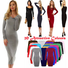 New Ladies Womens Plain Bodycon Long Sleeve stretch Midi Dress Jersey Maxi 8-26