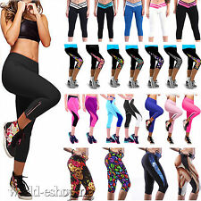 NEW Women Cropped Pants Leggings Fitness Yoga Gym Stretch Sports Tight Trousers