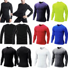 Mens Compression Base Layer Stretch Tops Long Sleeve Under Skin Sports T-shirts