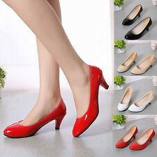 Women Ladies Low Mid High Kitten Heel Work Casual Smart Court Shoes Pumps AAU