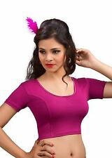 Indian Saree Blouse Magenta Cotton Lycra Party Wear Tunic Stretchable Choli Top