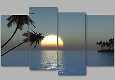 Sunset over the Ocean with Palm Trees 4 Panel Split Canvas Picture Wall Art