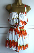 AX PARIS FAB LADIES WHITE HOT CHILLI PEPPER PLAYSUIT SIZE 12 SUMMER HOLIDAY