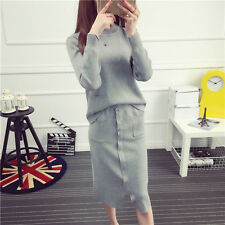 new Autumn winter Korean fashion trend knitting Package buttocks two-piece dress