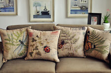 New 45x45 Vintage Insect Series Cotton Linen Throw Pillow Case Cushion Cover