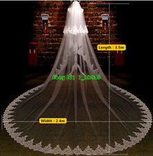 New 2T Ivory White 3.5M Wedding Bridal Veil Lace Edge Cathedral length + comb