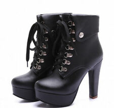 New Womens Lace Up Riding Ankle Boot High Heel Block Platform Gladiator Shoes