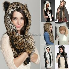 Winter Warm Hood Animal Hood Faux Fur Hat Scarf With Mittens Gloves Pocket BF9