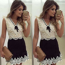 WOMEN SEXY SUMMER LACE PATCHWORK BOWKNOT PARTY COCKTAIL MINI DRESS REPUTABLE
