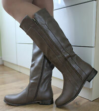 WOMENS KNEE HIGH BROWN FAUX LEATHER FLAT LOW HEEL BIKER RIDING BOOTS SIZE 3-8