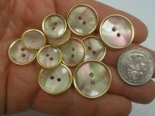 New Lots White Plastic Mother of Pearl Gold Rimed 7/8 13/16 11/16 5/8 1/2 (#M6)
