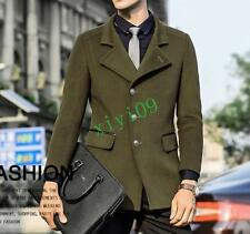 British Mens Fashion Slim Fit Trench Jacket Peacoat Windbreaker Overcoat Plus Sz