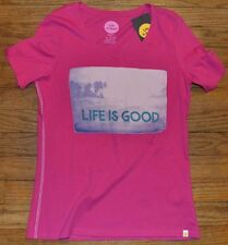 Life is Good Pink Short Sleeve Fitted V Neck T-Shirt Authentic LIFE IS GOOD Tee