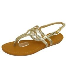 LADIES GOLD TOE-POST FLAT SANDALS FLIP-FLOP SHOES HOLIDAY SUMMER PUMPS UK 3-8