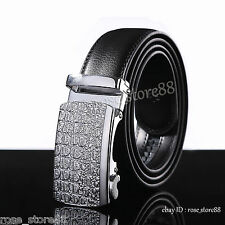 Men's Silver Automatic Belts Buckle Genuine Leather Waist Strap Belt Waistband