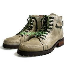 Mens Retro Leather Combat Lace Up Low Heels Buckle Ankle Cowboy Boots Shoes 43